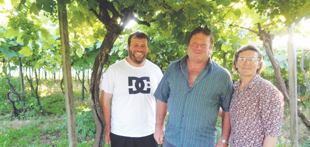 O produtor Júlio Cesar Berton, a esposa Nair Guarese Berton, e o filho Everton, estão otimistas para a safra que inicia em fevereiro na comunidade de Sete de Setembro, interior de Flores da Cunha